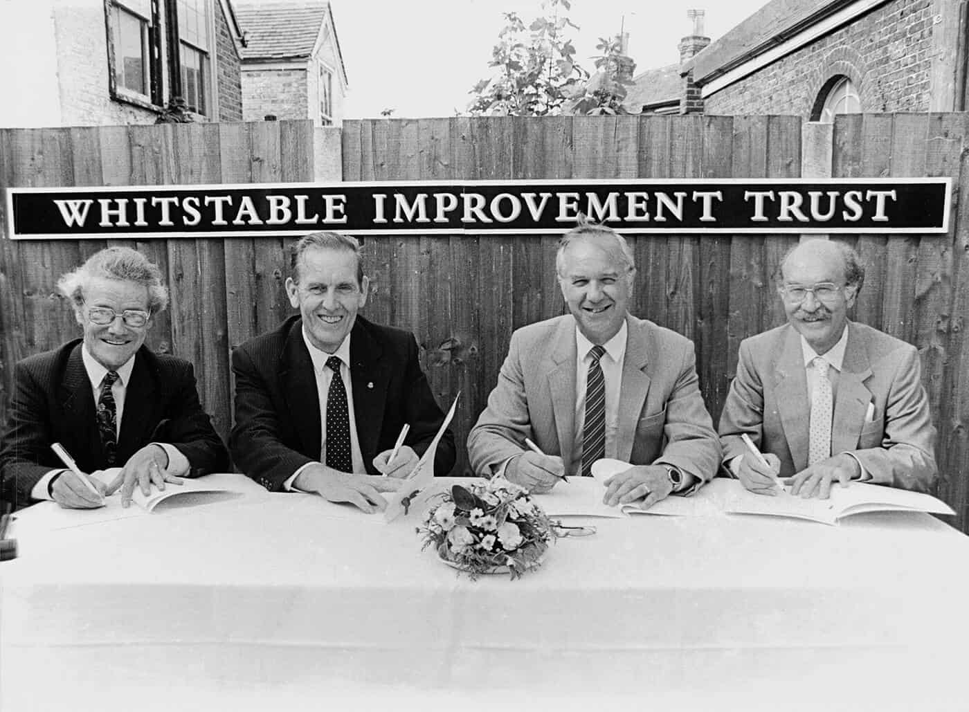 Trustees at the point of foundation in 1989<br /> Roger Higman of the Civic Trust. Terry Pears of Kent County Council. Jim Knock leader of Canterbury City Council. and Peter Miles OBE Chairman of Whitstable Improvement Trust